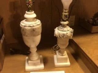 Set of 2 vintage marble lamps