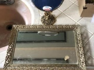Vintage mirror makeup tray  set of wooden