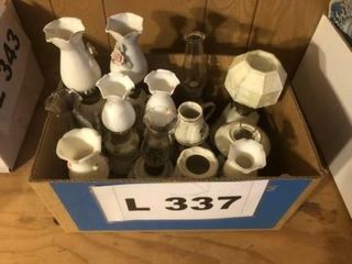 Vintage milk glass and ceramic oil lamps 11