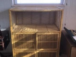 Wicker cabinet 3 shelves  good condition