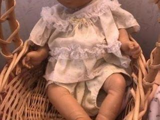 large basket with 2 vintage dolls