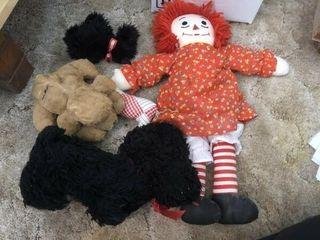 Vintage Raggity Ann doll and misc  stuffed animals