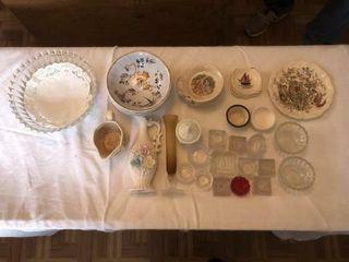 Salt trays  vases  creamer  bowls  plates