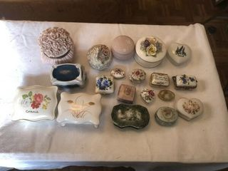Vintage trinket boxes and jewelry holders