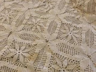 Vintage crocheted bedspread  off white  some holes