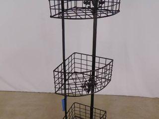 3 tier metal decorative corner basket holders 29 in H