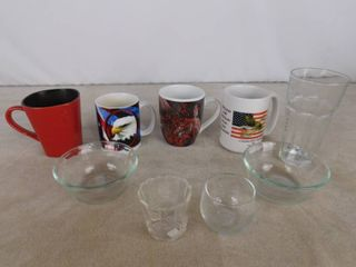 lot assorted cups and pyrex glass bowls