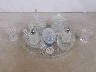 large glass set on glass platter