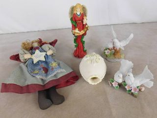 lot of assorted glass figurines and a cloth angel
