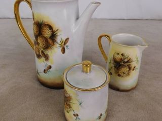 Teapot  sugar canister and creamer cup 3 piece of set