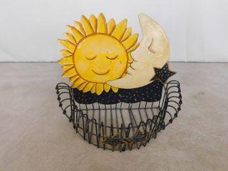 Metal sun and moon wall hanging basket