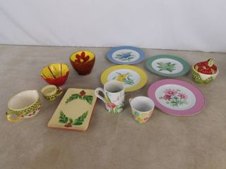 lot of misc glassware including cups  plates and bowls