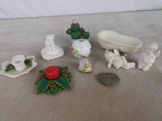 lot of misc  home decor including cat figurine  Christmas decor  and other small figurines
