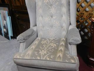 Blue wing back arm chair 32 in l X 40 in H X 31 in W