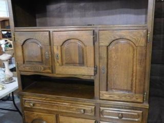 legends lighted wood storage cabinet with wooden doors 3  keys 56 in W X 77 in H X 20 1 2 in D  cord needs repaired