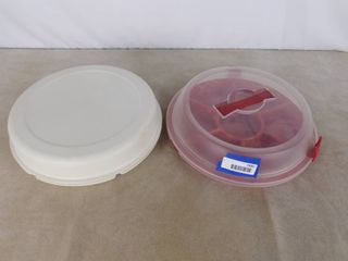 2 assorted platter trays both with lids