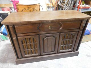 Montgomery Ward stereophonic music center  turns on and plays   has some damage see pics  26 1 2 in H X 40 in W X 16 in D