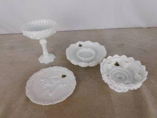 Assorted Fenton milk glassware  4 pieces