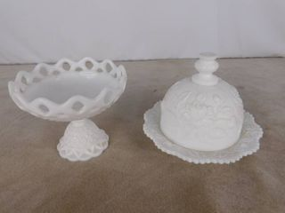 Imperial milk glass dish with dome lid and standing bowl glassware