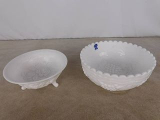 Two different Imperial milk glass bowls