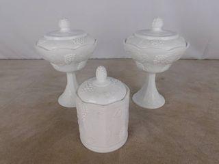 3 matching paneled grape milk glassware with lids  no marking found