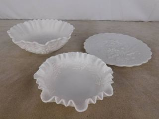 Imperial milk glass 2 decorative bowls and one plate  both bowls are paneled grape design
