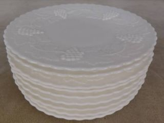 10 matching Imperial paneled grape milk glass plates 10 in dia