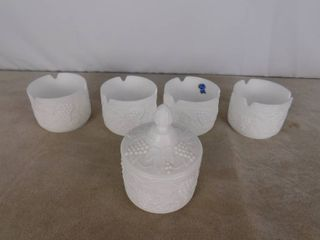 Imperial paneled grape milk glass bowls  one has lid 4 1 2 in dia