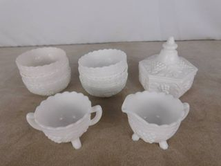 Assorted Imperial paneled grape milk glass including small bowls  candy dish with lid and small cups