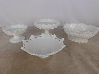 5 Assorted Westmoreland milk glass bowls  4 with paneled grape design