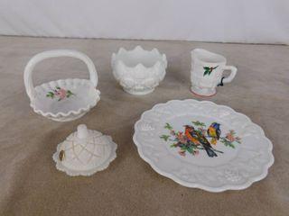 6 piece assorted Westmoreland milk glassware