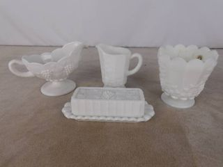 5 piece assorted Westmoreland paneled grape milk glassware including butter holder  gravy pitcher  bowl and another pitcher