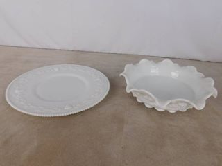 Westmoreland paneled grape milk glass platter and flowing top bowl