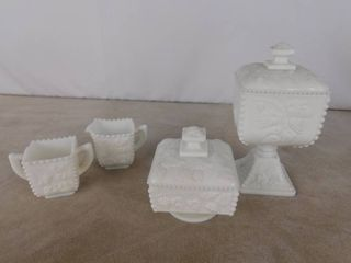 6 piece Westmoreland paneled grape milk glassware including 2 candy dishes with lid and 2 cups