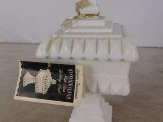 Genuine Handmade Westmoreland milk glass wedding bowl with lid