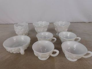 8 assorted Westmoreland milk glassware including 4 teacups  4 bowls