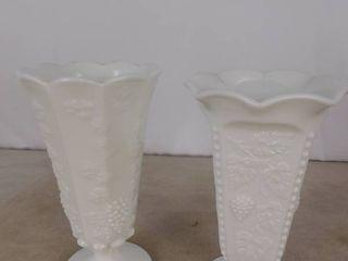 Pair of Westmoreland paneled grape milk glass bell vases