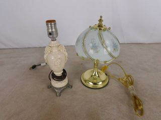 small cream colored glass lamp 12 in H and small brass lamp with dome shaped glass lampshade that has a floral design 11 1 2 in H