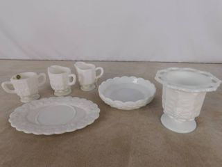 6 piece assorted Westmoreland paneled grape milk glass including sugar and creamer bowls  bowl  platter and vase
