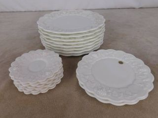 Westmoreland paneled grape milk glass plates 8 large plates 10 1 2 in dia  2 medium 8 1 2 in dia plates and 6 small 5 1 2 in dia saucers