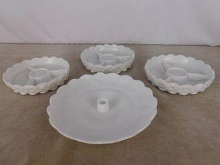 3 matching paneled grape Westmoreland milk glass divider dishes and one Westmoreland paneled glass platter