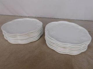 Set of 14 paneled grape milk glass snack plates 10 in l  Unknown name