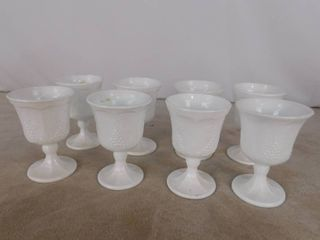 Set of 8 paneled grape milk glass pedestal goblets 5 1 2 in H  unknown name