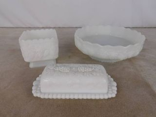 4 piece assorted paneled grape milk glassware including  butter holder  large bowl and dish candy dish without lid  unknown name