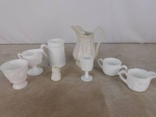 8 pieces of assorted paneled grape milk glassware including pitchers and creamer   sugar glasses  unknown name