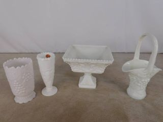 4 piece of assorted paneled grape milk glassware including basket with handle  2 vases and one bowl  unknown name