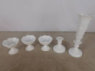 5 assorted paneled grape candlestick holders  unknown name