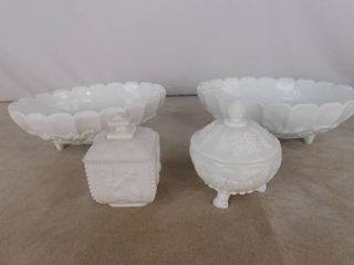 6 piece paneled grape milk glassware including 2 footed oval centerpieces and 2 candy dishes with lids  unknown name