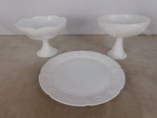 3 pieces of paneled grape milk glassware including 2 pedestal bowls and one large platter  unknown name