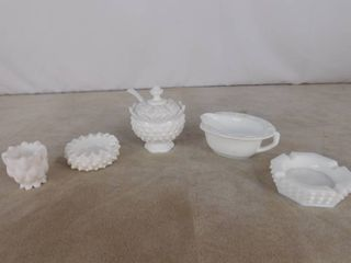 7 piece assorted milk glassware including and ashtray  sugar bowl with handle and gravy boat  unknown name